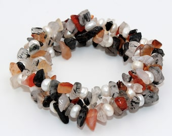 Tourmaline, citrine beads 3-way splitter bracelet