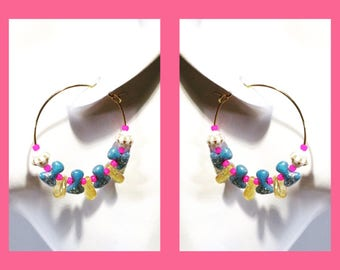 Hoop Japanese Czech beads blue pink gold earrings -Unicorn's napping -