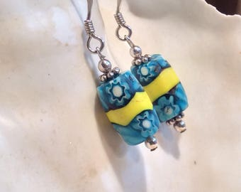 Gorgeous Rare Aqua and Yellow Millefiori Trade Beads Earrings