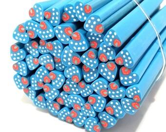 ❤ 10 X cane polymer clay heart 5mm blue polka dots ❤