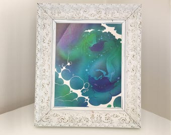 Mermaid print for frame. Disney The Little Mermaid illustration from vintage book. Perfect for underwater themed bedroom or playroom