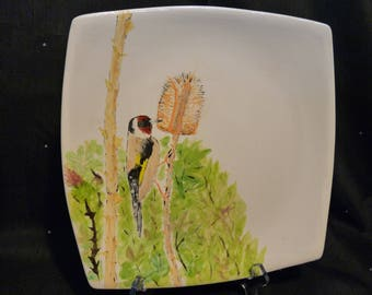 Goldfinch on a teasel plate