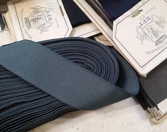 "1.375"" Straight Edge Woven Grosgrain Ribbon Vintage French Two tone COTTON/RAYON Grosgrain Millinery Ribbon trim hatband fedora Hatter"