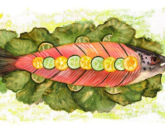 ORIGINAL design, durable and WASHABLE PLACEMAT - salmon, cucumber - classic and lemons.