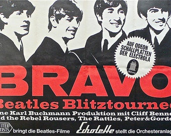 SET of VINTAGE TABLE - The Beatles - Blitztournee concert poster.