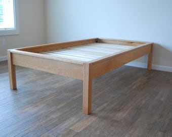 Platform Bed in White Oak, Simple Bed Frame, Twin, Full, Queen, King, California King, Wood Bed