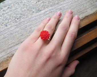 Resin - red adjustable flower ring