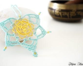 SALE. Healing macrame mandala necklace. Macrame Chakra jewelry. Energized Mandala jewelry. Mothers day / wife / girlfriend gift for her.