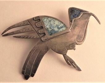 Graziella Laffi Brooch, Modernist Bird, Sterling Silver