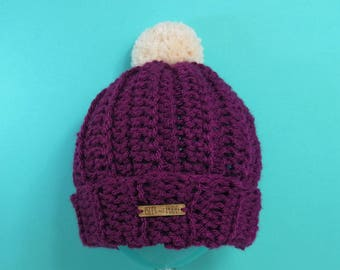 Adults | PURPLE | Unisex Crocheted Bobble Hat | With Cream Pom Pom