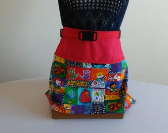 No Tie Adjustable Waist Apron - School Days - 3 lined pockets waist apron/ red,yellow, and blue multi color