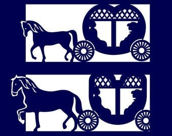 Horse Carriage SVG PNG DXF & eps Designs Cameo File Silhouette