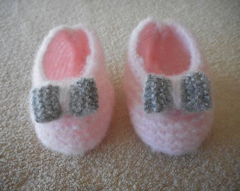 Baby ballerina pink and little wool silver bow.