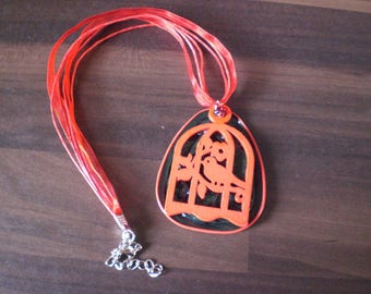 "Medallion necklace ""Open cage birds"""