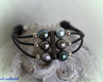 Bracelet 6 Tahitian pearls