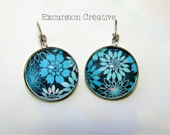 Earrings sleepers cabochons 20 mm blue flowers white and turquoise