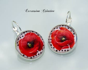 Earrings sleepers cabochons 20 mm poppies on white background with black polka dots