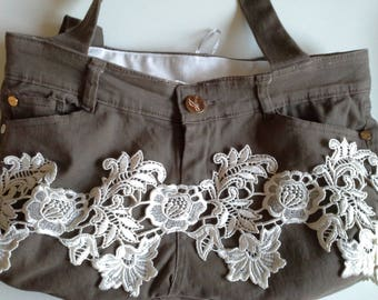 white lace decorated taupe cotton canvas bag