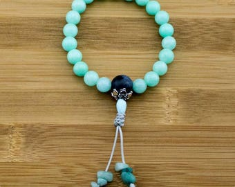 Amazonite Buddhist Mala Bracelet with Sodalite | 8mm | Yoga Jewelry | Meditation Bracelet | Buddhist Mala Bracelet | Free Shipping