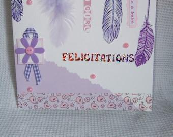 "Baby girl ""Gently"" congratulations card"