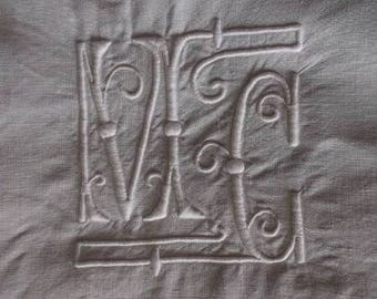 Laeken. Antique Embroidered French linen sheet with monogram MC in Art Deco style. Vintage Bedsheet drap ancien