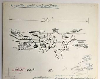 Original Art, Military Aviation Advertising Line Drawing, Douglas DC-7