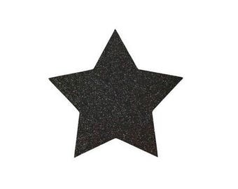 5 X 4.8 cm black glittery star fusible pattern