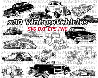 antique car svg, vintage car, retro car, antique vehicle, clipart, eps, dxf, png, silhouette, line art, decal, stencil, vinyl, vector