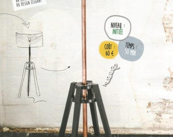 Sheet create a floor lamp with a stool