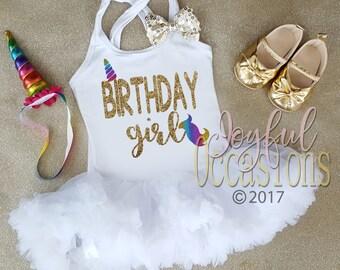 Rainbow Unicorn Birthday Girl Tutu Dress - Cute 2pc 1st 2nd 3rd Fluffy Birthday Pettiskirt Dress With Matching Unicorn Horn For Ages 1-3