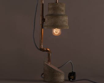 Handmade Concrete Industrial Table Lamp Concrete and Copper Mixed Materials Modern Design Dimmable Switch Traditional Filament Bulb