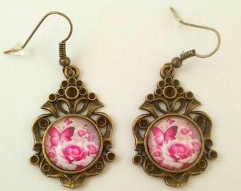 """Bronze earrings """"butterfly in pink"""""""