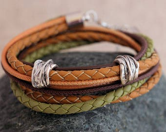 Bracelet braided and smooth nappa leather - beige/Brown/olive