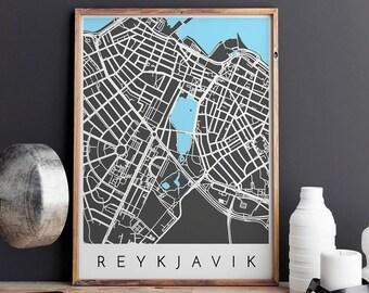 Reykjavik Map Print, Reykjavik Print, Reykjavik Map, Reykjavik, Reykjavik Poster, Reykjavik Map Print,Map of Reykjavik,Reykjavik City Map