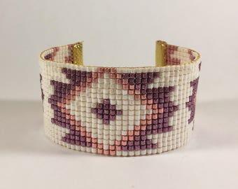 Bracelet weaved in pearls miyuki geometric