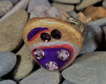Hand painted sea stone multisize ring with silver plated base and Swarovski crystals