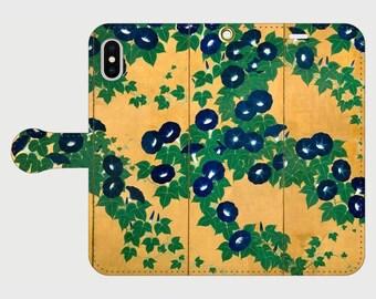 "Wallet phone case ""Suzuki Kiitsu Morning Glories"""