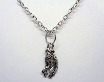 Handmade Gift Ideas Antique Silver Plated Monkey Charm Necklace