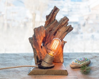 Driftwood lamp Wood lamp Rustic light Edison light Wood log lamp Driftwood light Wooden lamp Handcrafted light Rustic decor Natural woodlamp