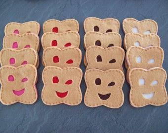 lot de 3 Biscuits BN sourire fait  main en feutrine