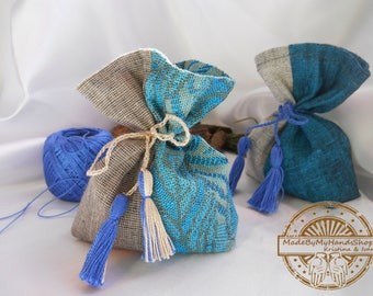 Lavender, mint, pine, blue and beige sachet aroma bag of natural fabric, linen, fragrant sachet, handmade, bag with herbs, gift bag, eco