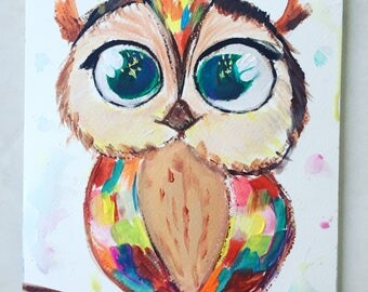 Acrylic painting of owl
