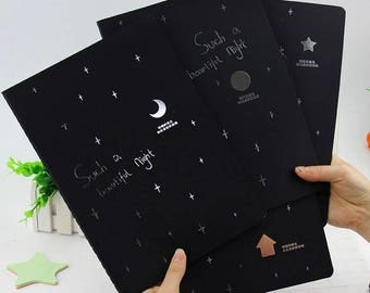 Black Sketchbook/12 Pc Set/With Black Pages, Black Notebook, Sketchbook, Black Paper Notebook, Black Paper, Gel Pen, Chalk Pen, Kids Crafts