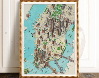 New York Map Print, New York Map, New York, NYC Map Print, NYC Map, New York City Print, Manhattan Map Print, United States City, US Map
