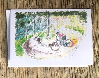 Cycling Card, Mountain Bike Card, Shredding Berms, Bike Illustration