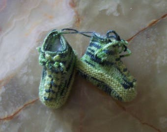 multico green baby booties with green laces