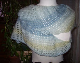 Scarf Cape - gradient pastel blue - gray and green.