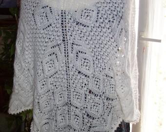 Knit shawl handmade - lace pattern - white enameled-
