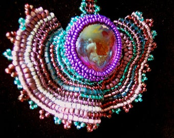 Bead weaving Necklace blue and purple