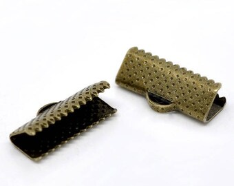 20mm - Pack 50 caps claw/cap for 20 mm Ribbon / clip crimp bronze